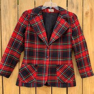 Vintage 70s Wool Tartan Plaid Blazer